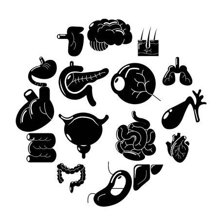 Internal human organs icons set. Simple illustration of internal human organs vector icons for web