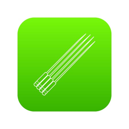Toothpick icon green vector isolated on white background Vettoriali
