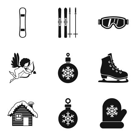 Winter journey icons set. Simple set of 9 winter journey vector icons for web isolated on white background 일러스트