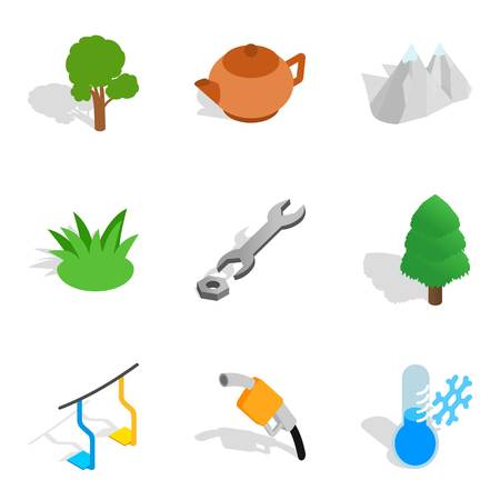Winter crops icons set. Isometric set of winter crops vector icons for web isolated on white background 일러스트