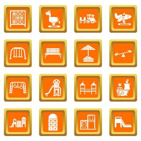 Playground equipment icons set vector orange square isolated on white background  Çizim