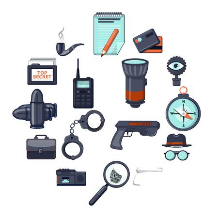 Spy icons set secret investigation. Cartoon illustration of 16 spy vector icons for web