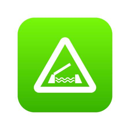 Lifting bridge warning sign icon digital green for any design isolated on white vector illustration