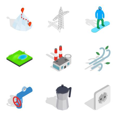 Cold area icons set. Isometric set of cold area vector icons for web isolated on white background