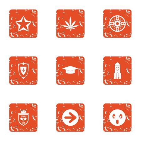 Shielding icons set. Grunge set of 9 shielding vector icons for web isolated on white background