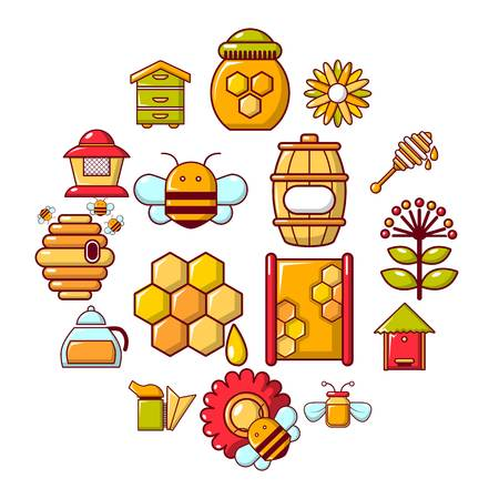 Apiary honey icons set. Cartoon illustration of apiary honey vector icons for web