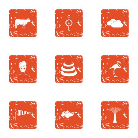 Rustic style icons set. Grunge set of 9 rustic style vector icons for web isolated on white background