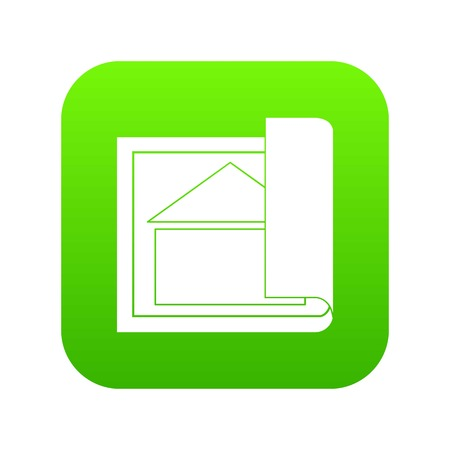 Building plan icon digital green for any design isolated on white vector illustration