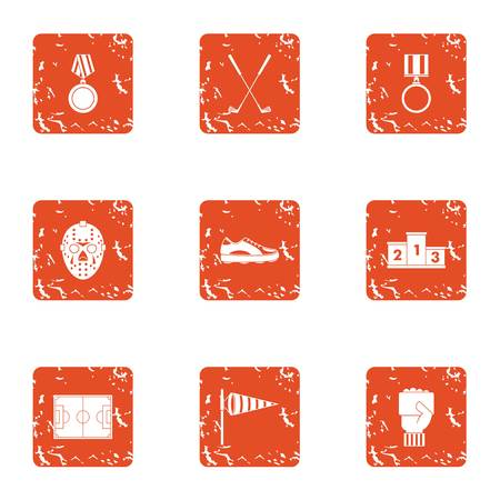Sport club icons set. Grunge set of 9 sport club vector icons for web isolated on white background Illusztráció
