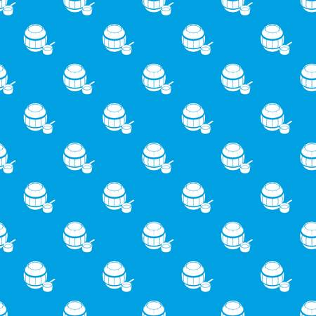 Barrel honey pattern vector seamless blue repeat for any use. Illustration