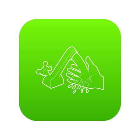 Wash hand icon green vector isolated on white background. Ilustração
