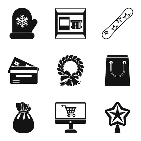 Winter icons set. Simple set of 9 winter vector icons for web isolated on white background.