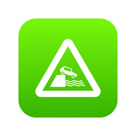 Riverbank traffic sign icon digital green for any design isolated on white vector illustration. Illustration
