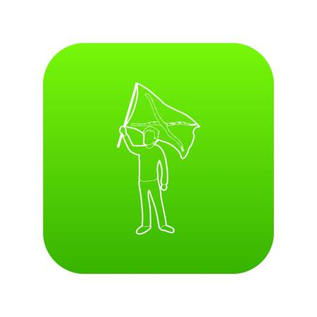 Man protest icon green vector isolated on white background. Illustration
