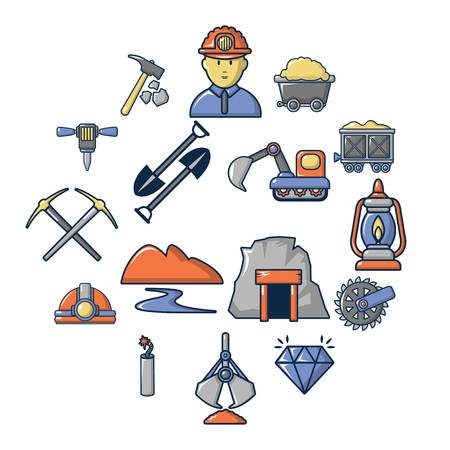 Mining minerals business icons set. Cartoon illustration of 16 mining minerals business vector icons for web.