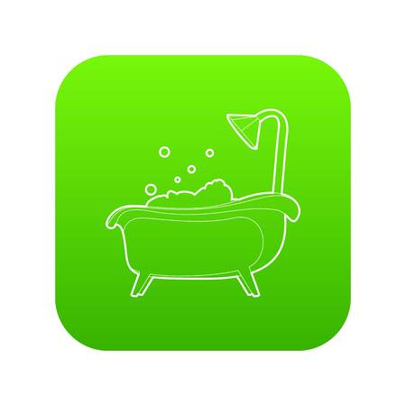 Bath icon green vector isolated on white background Illustration