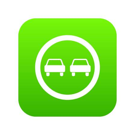 No overtaking road traffic sign icon digital green for any design isolated on white vector illustration Vettoriali