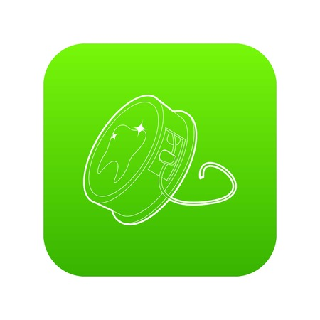Dental floss icon green vector isolated on white background