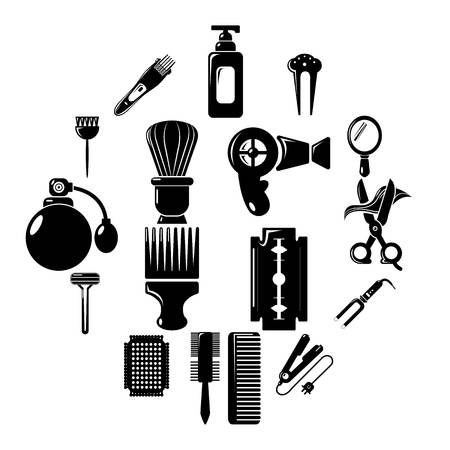 Hairdresser icons set. Simple illustration of 16 hairdresser vector icons for web Stock Vector - 100455150