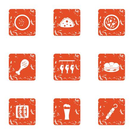Dried food icons set. Grunge set of 9 dried food vector icons for web isolated on white background.