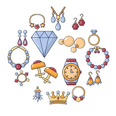Jewelry shop icons set. Cartoon illustration of 16 jewelry shop vector icons for web. Stok Fotoğraf - 100477250
