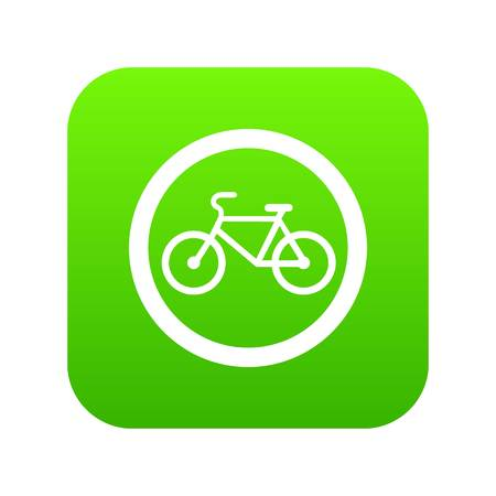 Travel by bicycle is prohibited traffic sign icon digital green for any design isolated on white vector illustration. Ilustração