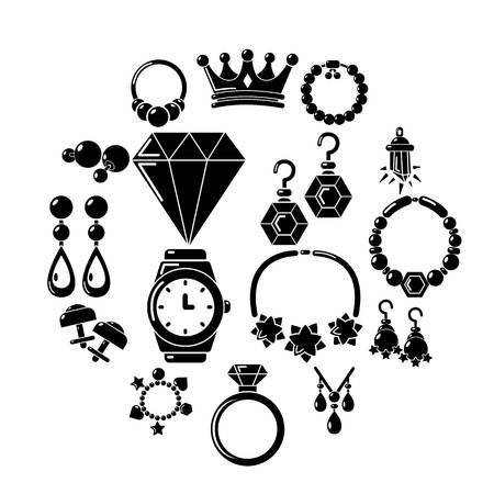 Jewelry shop icons set. Simple illustration of 16 jewelry shop vector icons for web.