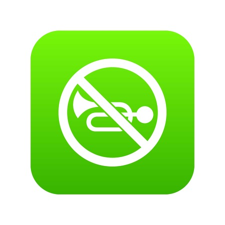 No horn traffic sign icon digital green for any design isolated on white vector illustration.