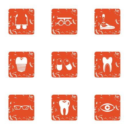 Body parts replacement icons set. Grunge set of 9 body parts replacement vector icons for web isolated on white background.