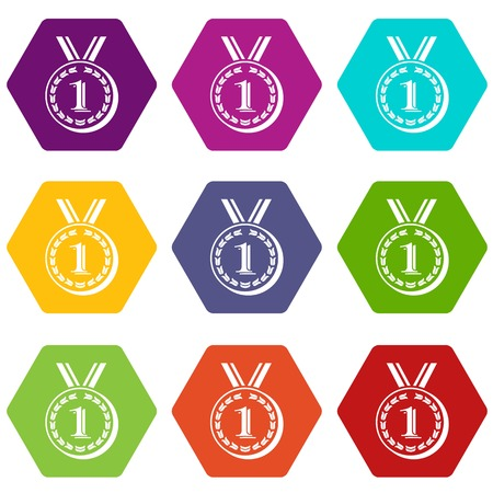 Medal icons 9 set coloful isolated on white for web  イラスト・ベクター素材