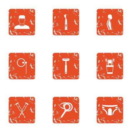 Fix organism icons set. Grunge set of 9 fix organism vector icons for web isolated on white background
