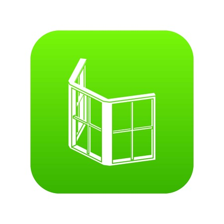Facade window frame icon green vector isolated on white background Illustration