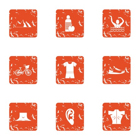 Street occupation icons set. Grunge set of 9 street occupation vector icons for web isolated on white background