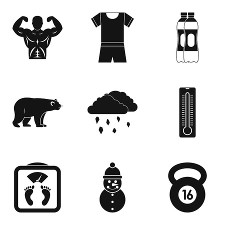 Winter playful icons set. Simple set of 9 winter playful vector icons for web isolated on white background Ilustração