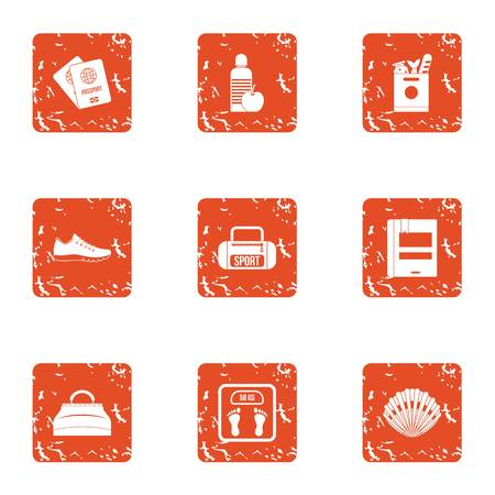 Sport occupation icons set. Grunge set of 9 sport occupation vector icons for web isolated on white background