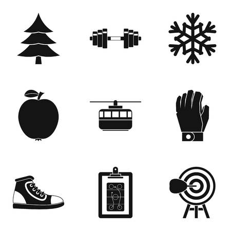 Winter playground icons set. Simple set of 9 winter playground vector icons for web isolated on white background Ilustração