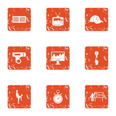 Sport conquest icons set. Grunge set of 9 sport conquest vector icons for web isolated on white background