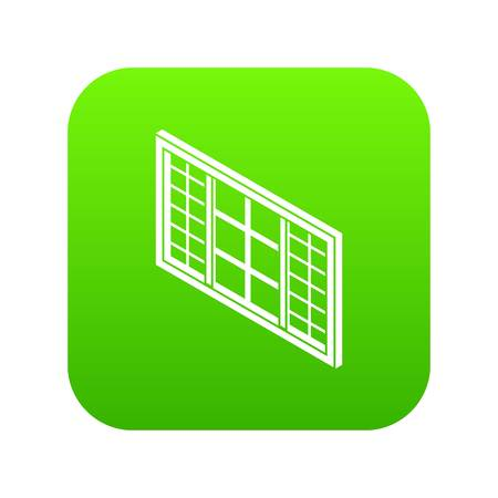 Wood window frame icon green vector isolated on white background