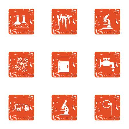 Science city icons set. Grunge set of science city vector icons for web isolated on white background Illustration