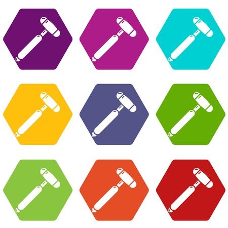 Medical mallet icons set coloful isolated on white for web Illustration