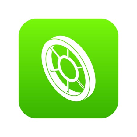 Round window frame icon green vector isolated on white background Illustration