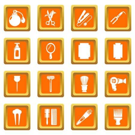 Hairdresser icons set vector orange square isolated on white background  Illustration