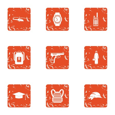 Crime challenge icons set. Grunge set of crime challenge vector icons for web isolated on white background
