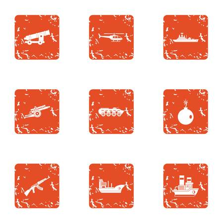 Tense military icons set. Grunge set of 9 tense military vector icons for web isolated on white background