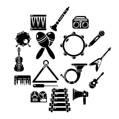 Musical instruments icons set. Simple illustration of 16 musical instruments vector icons for web Illustration