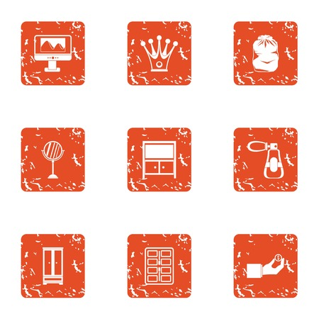 Working nook icons set. Grunge set of working nook vector icons for web isolated on white background