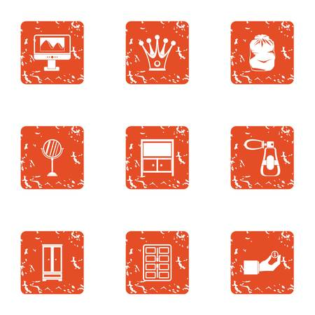 Working nook icons set. Grunge set of 9 working nook vector icons for web isolated on white background Stock Photo