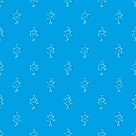 Riot of woman pattern vector seamless blue repeat for any use Stock Photo
