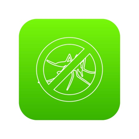 No mosquito icon green vector isolated on white background.