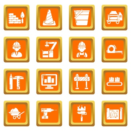 Building process icons set vector orange square isolated on white background.